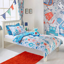 Robots Boys Double Quilt Duvet Cover and 2 Pillowcase Bedding Bed Set Kids -