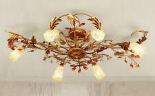 Plafoniera classica 6 luci in metallo oro ricco e vetri coll. Dese 4015-6PL