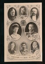 WW1 patriotic Britain & Her Allies Royalty & Heads of State M/View RP PPC Rotary