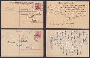German Belgium 1917 war mail - Lot of 2 Censored WWI Postal stationeries...X1333