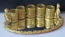Vintage Filigree Vanity Lipstick Holder Gold Tone Cherub 5 Tubes