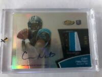 Cam Newton 2011 Topps Finest RC Auto 3 Color Jersey Patch Refractor 84/99