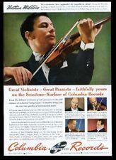 1943 Nathan Milstein photo Columbia Records vintage print ad