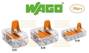 Wago 221 Electrical Connectors Wire Block Clamp Terminal Cable Reusable UK 30pcs