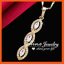 18K YELLOW GOLD GF HALO MARQUISE INFINITY DIAMOND WEDDING SOLID PENDANT NECKLACE