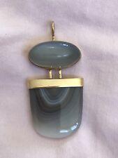SASA JEWELRY 14k Gold Pendant Moonstone & Blue Mountain Jasper Fine Handmade Vtg