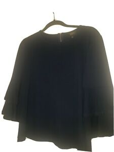 W5 Womens Navy Blue Bell Sleeve Blouse Top Crew Neck  Size Medium
