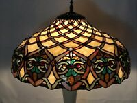 Vtg Stained Slag Glass Lamp Shade Arts & Crafts Mission Deco Tiffany Style 16""