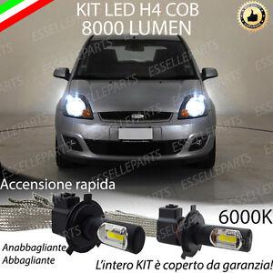 COPPIA H4 A LED FORD FIESTA MK5 8000 LUMEN ANABBAGLIANTI + ABBAGLIANTI