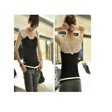 Womens Girl's Hollw Lace Casual Cami Vest Tank Top Sleeveless No Sleeve T-shirt