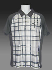 VINTAGE Nuovo Nike Tennis DriFIT Polo Shirt Grigio e Bianco M