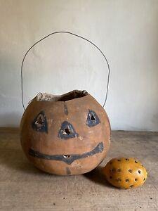 Best Folky Handmade JOL Gourd Pumpkin Aged Hand Painted Lantern Candy Pail AAFA