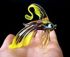 """MURANO ITALY STYLE 2.9"""" yellow ART GLASS aquarium figurine GOLDFISH FISH figure"""