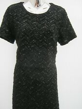 Oasis Black Sequin A-line Lined  Dress With Overlay Top Size Medium ( Size 12 )