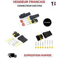 FICHE PRISE COSSE CONNECTEUR ELECTRIQUE ETANCHE BATEAU AUTO 2/4/5PINS AU CHOIX