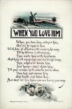 WHEN YOU LOVE HIM Antq/Vtg c1915-20 Hand-color Art Motto Print Reinthal & Newman