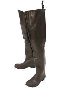FROGG TOGGS Classic Rubber Bootfoot Hip Wader, Cleated Outsole, Brown,