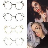 NEW Vintage Unisex Metal Frame Clear Runde Linse Gläser Nerd Brille Glasses DE.