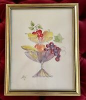 ORIGINAL Whimsical Still Life WATERCOLOR Fruit Bowls- SIGNED H. Towns - FRAMED