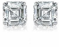 2 carat Asscher Cut Diamond 18k white gold Stud Earrings GIA H color VS1 clarity