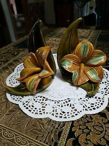 Vintage Royal Haeger pottery Hibiscus Bookends 1940's - 1950's