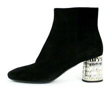 PRADA Black Suede Crystal Jeweled Silver Metal Heel Ankle Boots 39