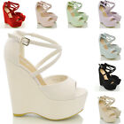 Womens Strappy Platform Wedge Ladies Peep Toe High Heel Sandals Shoes Size 3-8