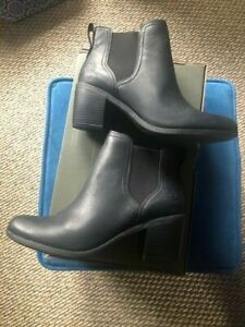 Timberland Brynlee Park Chelsea Black Leather Ankle Boots Size 8.5