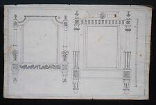Paire de dessin d'ébéniste XVIIIème - Lit Louis XVI