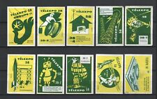 "Made in Belgium ""Telexpo 1958"" Lot of 10 Belgian Vintage Matchbox Labels Rare"