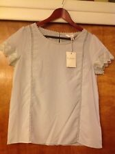 LC Lauren Conrad Runway Collection Gray Lace Trim Women's Blouse Top Size Medium