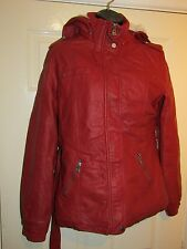 Rosso Simil Pelle/Giacca Foderato in Pile-misure UK 12
