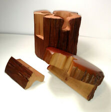 "Vintage Carved Wooden ""STUMP"" Jewelry Puzzle Trinket Box Cedar Inside"