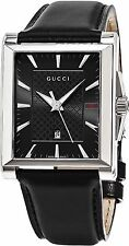 Gucci Men's Timeless Black Dial Black Leather Strap Swiss Quartz Watch YA138404
