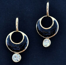 Crystal Black Last Quarter Moon Earrings
