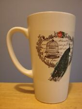 Cageless Peacock WHITE TALL MUG With Beautiful Filigree and Rose Border