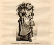 Stampa antica VENDITRICE AMBULANTE DI OSTRICHE Huitres 1869 Old Print