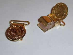 1 Paar Hosenträgerclips Clips mit Prägung gold 15 mm NEUWARE