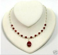"""REAL Women's white pearl Ruby pendant necklace 18"""""""