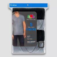 Fruit of the Loom Men's Short Sleeve V-Neck T-Shirt Dual Defense Tag Free 5 pack