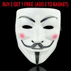 White V for Vendetta Mask Christmas Masquerade Anonymous Fawkes Fancy Hacker US