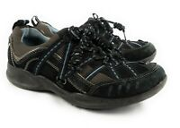 Clarks Wave Black And Blue Leather Suede and Mesh Sneakers Shoes Women's 6.5