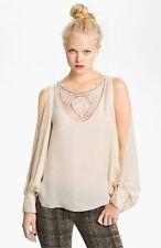 Haute Hippie Split Sleeve Crochet Neck Silk Blouse Top in Tapioca  $395  Size XS