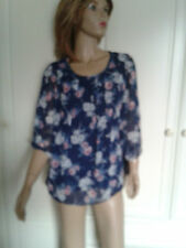 F & F BLUE MIX FLORAL TOP SIZE 10 BNWOT