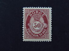 Stamp Norway Norge Postfrim. 50 ore Posthorn Crown mi 60A *
