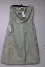 ANN TAYLOR CELEBRATIONS Green Floral Strapless Pleat Lined Dress Sz 12 NWT Bride