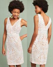 ANTHROPOLOGIE NWT Gardenia Lace Column Dress Sheath White Floral Lace Sz 4P $178