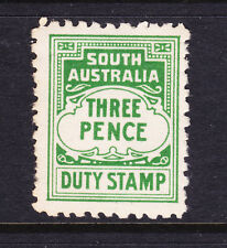 SOUTH AUSTRALIA DUTY STAMP  3d GREEN  MINT NO GUM