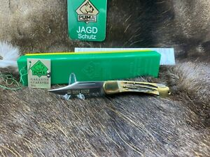 1997 Vintage Puma 21 0905 Duke Stag Handle Knife - Mint In Green / Yellow Box