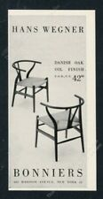 1957 Hans Wegner Danish modern chair photo Bonniers NYC vintage print ad
